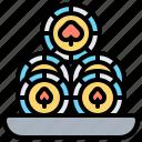 casino, chip, coins, money, token icon