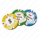 cartoon, casino, chip, colorful, dollar, game, poker icon