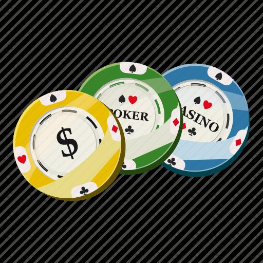cartoon, casino, chip, colorful, dollar, game, poker icon