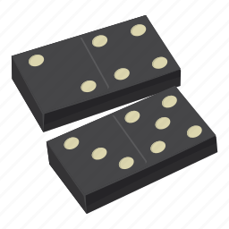 cartoon, domino, game, group, line, play, strategy icon