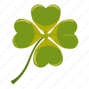 cartoon, clover, day, four, irish, leaf, luck icon