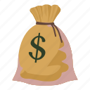 bag, canvas, cartoon, dollar, finance, money, sack icon