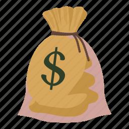 bag, canvas, cartoon, dollar, finance, money, sack icon