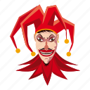 carnival, cartoon, clown, fool, frightening, jester, terrible icon