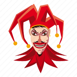 carnival, cartoon, clown, fool, frightening, jester, terrible icon
