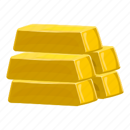 bank, bar, cartoon, gold, metal, reserve, savings icon