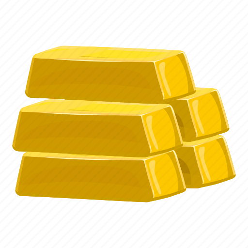 bank, bar, cartoon, gold, metal, reserve, savings icon