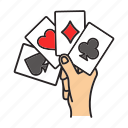 ace, card, casino, game, hand, kare, poker