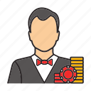 bet, casino, croupier, dealer, gambling, game, person icon
