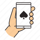 casino, gambling, game, online, play, smartphone, spade