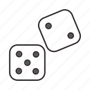 casino, cube, dice, dot, gambing, game, play icon