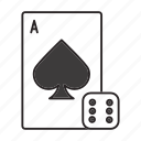ace, card, casino, dice, gambling, game, play icon