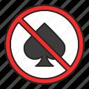cards, casino, forbidden, gambling, game, no, play icon