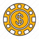 bet, casino, chip, dollar, game, play, token icon