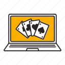 ace, blackjack, casino, kare, laptop, online, poker icon