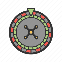 casino, gambling, red, roulette, wheel, wood icon