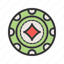 casino, chip, diamond, gambling, luck, poker, win icon