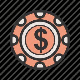 casino, chip, dollar, gambling, luck, poker, win icon