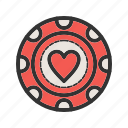 casino, chip, gambling, heart, luck, poker, win icon