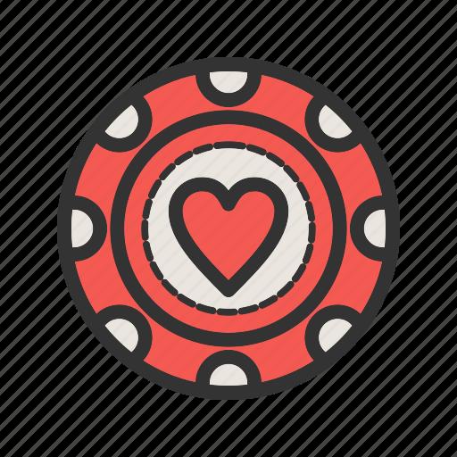 casino, chip, gambling, heart, luck, poker, win icon