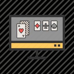 casino, computer, gambling, online, phone, poker, slot icon
