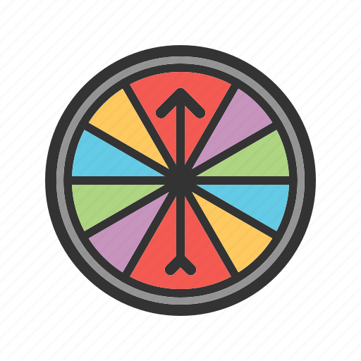 arrow, casino, gambling, red, roulette, wheel, wood icon