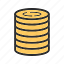 bills, casino, coins, gambling, machine, money, stack icon