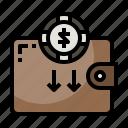 billfold, card, holder, money, notes, wallet icon