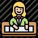 casino, croupier, dealer, service, staff icon