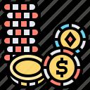 casino, chips, money, stack, token icon
