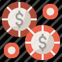 casino, chips, dollar, gamble, gambler, gambling icon