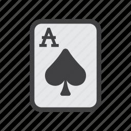 ace, ace card, card, spade card, spades icon