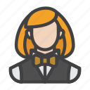 agent, croupier, female, gambler, player icon