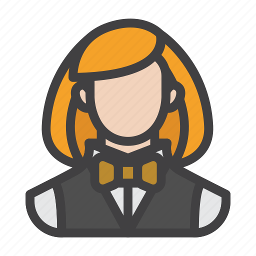agent, croupier, female, gambler, player icon