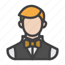 agent, butler, croupier, gambler, male, player icon