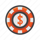 casino chip, chip, poker, poker chip icon