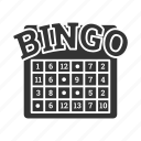 bingo, casino, chance, gambling, game, lottery icon