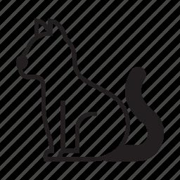 animal, cat, kitty, pet, pose, sideview, sit icon