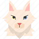 animal, breed, cat, pet, purebred, turkish, turkish angora icon