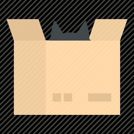 accessories, activity, amusement, box, cardboard, cat, long icon