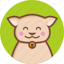 animal, avatar, cat, circle, expression, happy icon