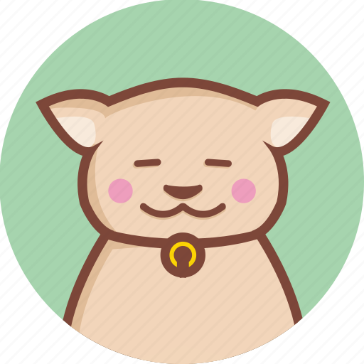 animal, avatar, cat, circle, expression, relax icon