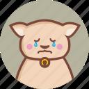 animal, avatar, cat, circle, cry, expression, sad icon