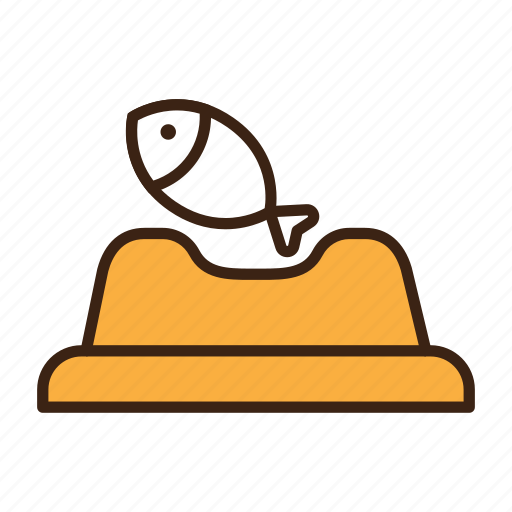 animal, bowl, cat, eat, fish, food, pet icon