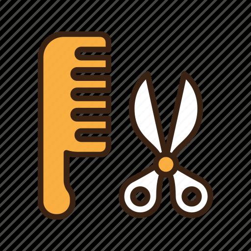 animal, cat, comb, hair, kitty, pet, scissor icon