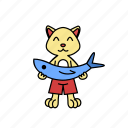 animal, cartoon, cat, character, fish, happy, hold icon