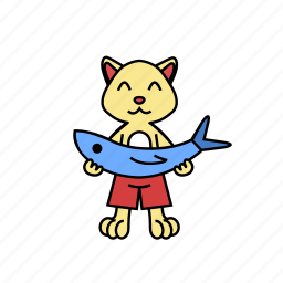 animal, cartoon, cat, character, fish, happy, hold icon