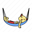 cat, hammock, lay, rest, sleep, summer, vacation icon