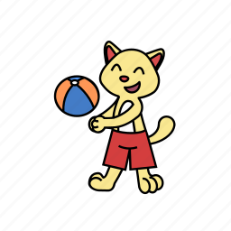 ball, cat, fun, game, kicking, play, volleyball icon