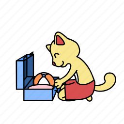 ball, cat, pack, sit, suitcase, tourist, vacation icon